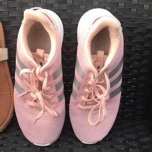 Pink kids Adidas tennis shoes